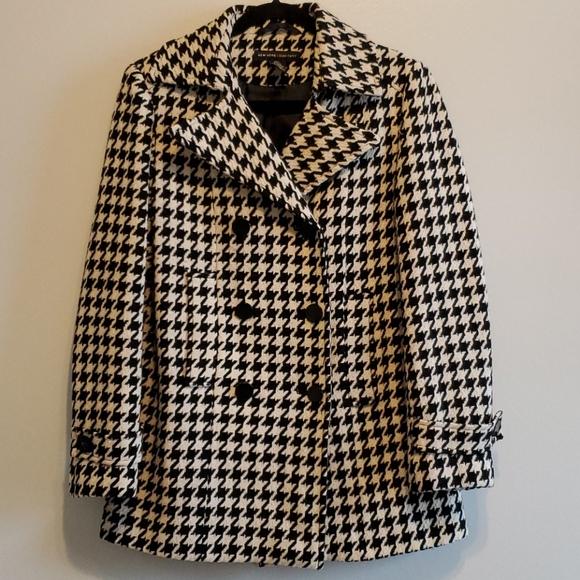 New York & Company Houndstooth Pea Coat - …
